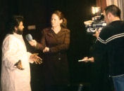 Rajan being interviewed for European Television.